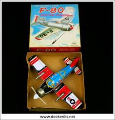 F-80 Aeroplane/Airplane, YONEYA (Yone/SY), Japan (Picture 2 of 2). Vintage Tin Litho Tin Plate Toy. Wind-Up / Clockwork Mechanism.
