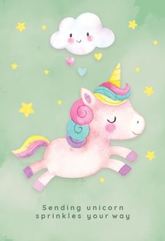 Unicorn Cheer - Get well soon card you can print or send as eCard. Personalize with your own message, photos and stickers. Choose from hundreds of cards & put a big smile on their face! Unicorn Art, Cute Unicorn, Happy Unicorn, Unicorn Sprinkles, Unicorn Birthday Cards, Unicorn Illustration, Unicorn Pictures, Get Well Soon, Get Well Cards