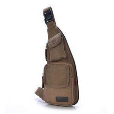 Men Outdoor Casual Canvas Chest Bag Sport Crossbody Bag