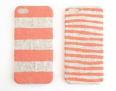 Coral Stripes on Unbleached Natural Linen iPhone Case / STARCREATUREstudio