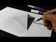 ink drawing How to draw paper cut optical illusion trick. Funny and easy drawing videos for kids learn. New art videos all week thanks for watching! It took me: 1 hou. Illusion 3d, Illusion Tricks, Optical Illusions Drawings, Illusion Drawings, 3d Art Drawing, 3d Drawings, Drawing Tips, Drawing Techniques, Drawing Designs