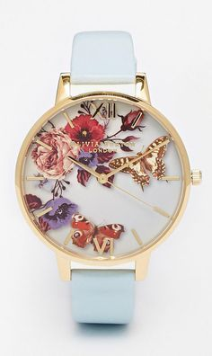 Olivia Burton Enchanted Garden Floral Face Leather Strap Oversize Dial Watch