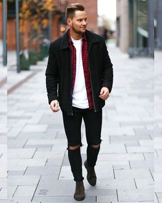Busy days call for a simple yet stylish outfit, such as a black suede bomber and black ripped skinny jeans. Dark brown suede chelsea boots will bring a classic aesthetic to the ensemble.   Shop this look on Lookastic: https://lookastic.com/men/looks/bomber-jacket-long-sleeve-shirt-crew-neck-t-shirt/20294   — White Crew-neck T-shirt  — Red and Black Gingham Long Sleeve Shirt  — Black Suede Bomber Jacket  — Black Ripped Skinny Jeans  — Dark Brown Suede Chelsea Boots