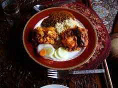 """""""#Kashmiri food: steamed rice, salad, and chicken roganjosh. The lentils and the potato-and-cauliflower dish are more 'plains North Indian', though"""" by phileasfogg."""