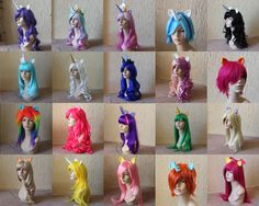 My Little Pony themed wig collection (tails available too). Holy wow.