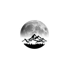 Mountain moon circle tattoo idea i made