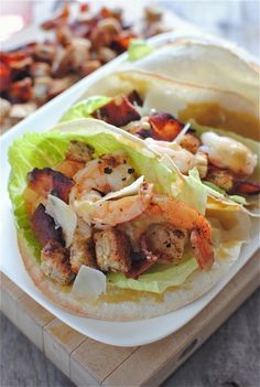 Double Decker Shrimp Caesar Salad Tacos by Bev Cooks