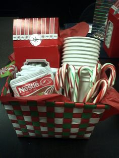 Hot chocolate gift basket. Great neighbor gift idea! I would put a tin or jar of Hot Chocolate mix...for Barb and Pat-Duane and Charla