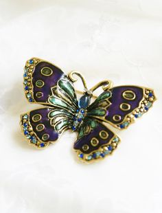 Gold tone butterfly purple enamel wings by PuddinRidgeCreations