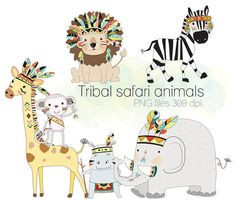 Safari animals clipart Tribal animals  Woodland Clipart by HandMek