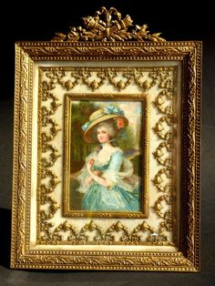 Awesome French Empire Bronze FRAME with Lady Portrait Antique Miniature