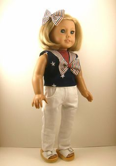 American Girl Doll Clothes Nautical Top Hair Bow by dressurdolly2