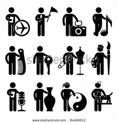 Tour Agent Guide Photographer Musician Barber Locksmith Tailor Painter DJ Martial Art Guru Veterinarian Animal Doctor Job Occupation Sign Pictogram Symbol Icon - stock vector