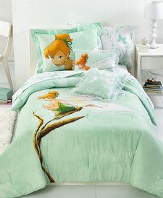 Disney Bedding, Tinkerbell Tink Watercolor Comforter Sets - Kids' Bedding - Bed & Bath - Macy's on Wanelo Crib Bedding Sets, Comforter Sets, Comforters, Tinker Bell Room, Full Size Comforter, Disney Bedding, Disney Rooms, Disney House, Disney Fairies