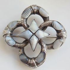 Stunning Victorian Scottish Provincial Silver Grey Montrose Agate Brooch c1865