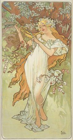 Alfons Mucha (1860-1939). The Seasons: Spring. 1896. Colour lithograph. Mucha Museum - Prague - Czech Republic