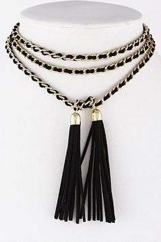 Layered Tassel Chain Black and Gold Choker Necklace