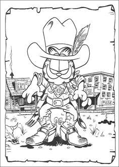 Cowboy Garfield Coloring Page