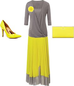 """""""So Yellowy"""" by spear062108 ❤ liked on Polyvore   Love the skirt but would but would wear it with a gray tank and sandals"""