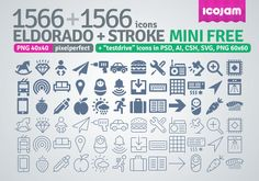 """Eldorado + Stroke 3132 mini is a free version of Eldorado + Eldorado stroke icons and includes 3132 icons in 40×40 sized PNGs + """"testdrive"""" icons in PSD, AI, CSH, SVG, 60×60 sized PNG."""