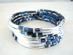 Blue Jean, Coil Bracelet, Memory Wire Bracelet, Bohemian Style Cuff, Stack Bracelet, by Feralspassage