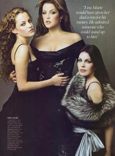 """Lisa Marie Presley, Riley Keough  and Priscilla in """"All the King's Women,"""" featuring three generations of Presley women: Elvis' granddaugher Riley, his daughter Lisa Marie and Priscilla, his one-time wife. by Annie Leibovitz for Vanity Fair August 2004."""