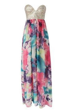 Multi Color Sequin Ink Print Strapless Maxi Dress @ Casual Dresses,Women Casual Dresses,Cheap Casual Dresses,Cute Casual Dresses,Casual Dresses for Juniors,Womens Casual Dresses,Casual Summer Dresses,Casual Maxi Dresses,Long Casual Dresses,Short Casual Dr