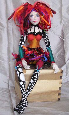 "Fabric sculpture doll. ""Miss Fantastic""."