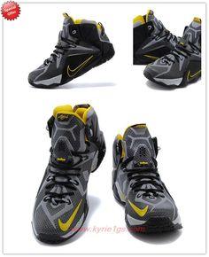 7fd3ae89321 Nero Giallo Nike Lebron 12 684593-605 Uomo scarpe tennis Nike Lebron
