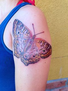 2nd of my 4 butterfly tattoos - this one is the White Peacock Butterfly. - realistic butterfly tattoo