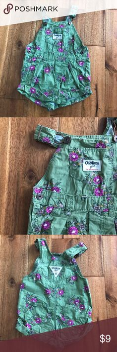 Osh Kosh b'gosh green & floral shorts overalls These are basically the cutest bottoms for a 12 month old you will ever encounter. They are 100% cotton and in EUC. Bundle with other items from my closet for the best deal! OshKosh B'gosh Bottoms Overalls