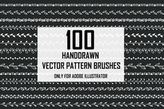 SALE!!! 100 vector pattern brushes by @Graphicsauthor