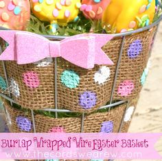 burlap wire easter basket thecardswedrew