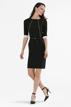Our #1 best-selling dress gets a chic update with contrast piping along the seams. The accentuated lines give this tried-and-true silhouette a modern look that's both flattering and sharp.