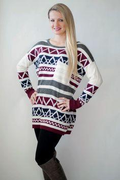Festive Oversized Sweater- Burgundy