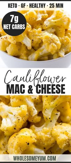 Low Carb Cauliflower Mac and Cheese Recipe with Keto Cheese Sauce - This health. - EASY LOW CARB KETO RECIPESLow Carb Cauliflower Mac and Cheese Recipe with Keto Cheese Sauce - This healthy, low carb cauliflower mac and cheese recipe is made wit Keto Veggie Recipes, Vegetarian Keto, Cheese Recipes, Low Carb Recipes, Real Food Recipes, Diet Recipes, Healthy Recipes, Entree Recipes, Veggie Mac And Cheese Recipe