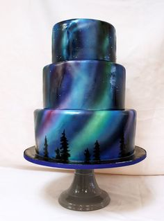 Airbrush cake by Northern Lights - Cake Decorating Cupcake Ideen Gorgeous Cakes, Pretty Cakes, Cute Cakes, Yummy Cakes, Amazing Cakes, Crazy Cakes, Fancy Cakes, Pink Cakes, Mirror Glaze Wedding Cake
