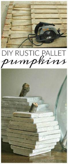 Turn scrap pallets into the perfect rustic fall pumpkins! www.littlehouseoffour.com