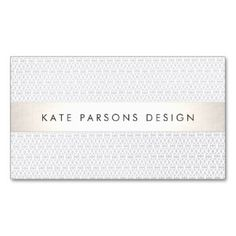Elegant Chic Designer Silver Striped Pattern Double-Sided Standard Business Cards (Pack Of 100) Great for event planners and wedding planners, makeup  artists, hair stylists, estheticians, bridal shops, bloggers and more.