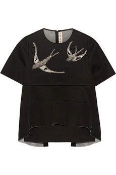 Marni Sequin-embellished scuba-jersey peplum top   NET-A-PORTER