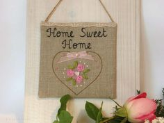 Linen Sign Home Sweet Home Rustic Sign Wall Hanging by cosyribbon