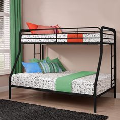 Simple, sleek, secure, stable and space-saving, this Twin over Full size Bunk Bed in Sturdy Black Metal meets all your needs and expectations. Easy to assemble, the bunk bed has been designed for the