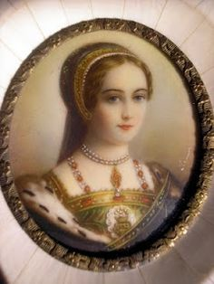 Miniature of Lady Jane Grey (1536/1537 – 12 February 1554).  Her married name was Jane Dudley, and she's also known as The Nine Days' Queen. An English noblewoman and de facto monarch of England from 10 July until 19 July 1553. She was subsequently executed. The great-granddaughter of Henry VII through his younger daughter Mary, Jane was a first cousin once removed of Edward VI.