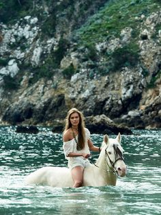 Beautiful white horse swimming in blue water with girl riding. Blue Lagoon, Free Generation. Awesome pic. Please also visit www.JustForYouPropheticArt.com for colorful inspirational art. Thank you so much! Blessings!