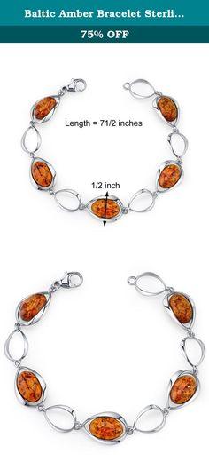 738ed346550e Baltic Amber Bracelet Sterling Silver Cognac Color Oval Shape. Genuine  Baltic Amber