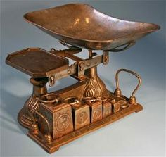 European Antique Cast Iron Balance Scale With Vintage Weights