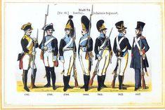 Plate 24: 2nd Infantry Regiment, 1792-1817 by Leo Ignaz von Stadlinger - Geschichte des württembergischen Kriegswesens - Uniforms of the troops of Württemberg