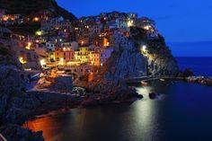 Village of Manarola at night, Cinque Terre, Liguria, Italy