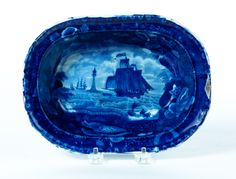 Historical Blue Staffordshire Vegetable  England 2nd quarter 19th century  The Eddistone Lighthouse with seashell border  E Wood and Sons.