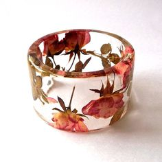 Pink and Yellow Roses Botanical Resin Bangle via Etsy